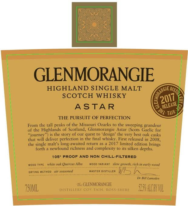 Glenmorangie Astar 2017 Label