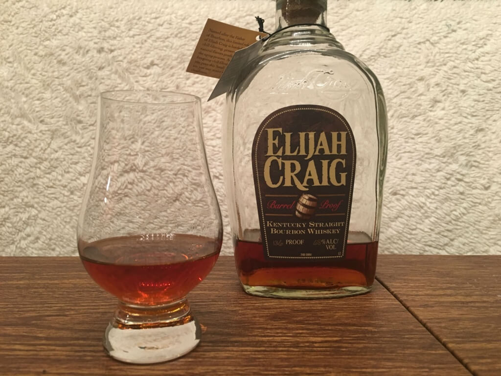 Elijah Craig Barrel Proof bottle and glass