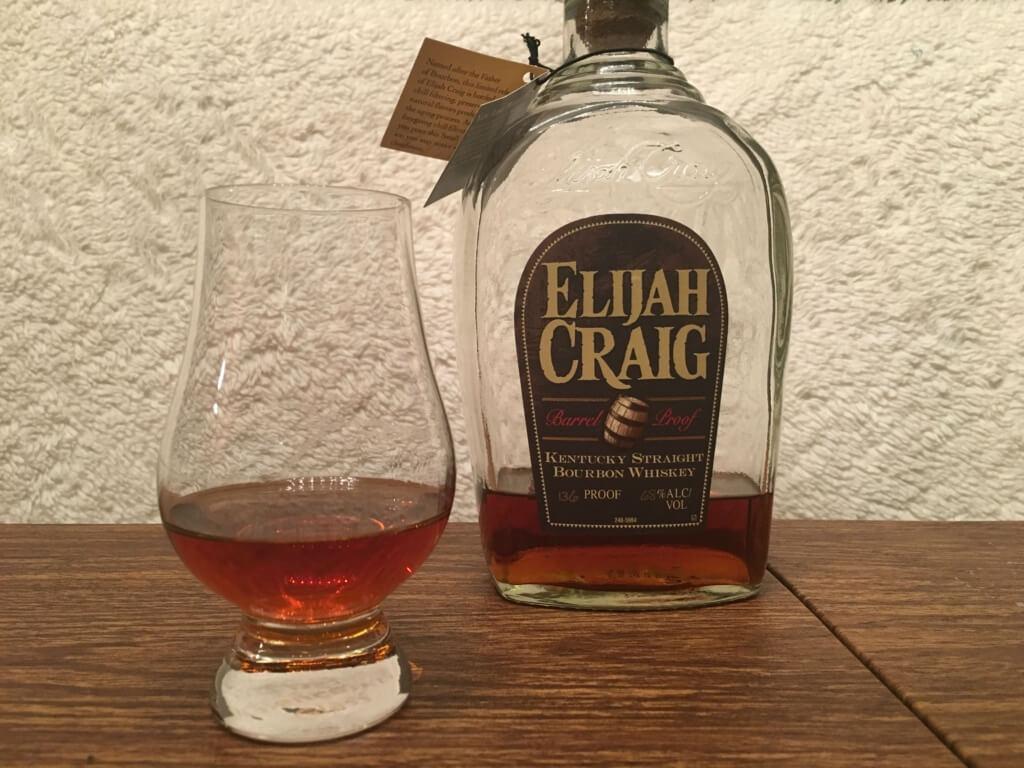 Elijah Craig Barrel Proof bottle and glass