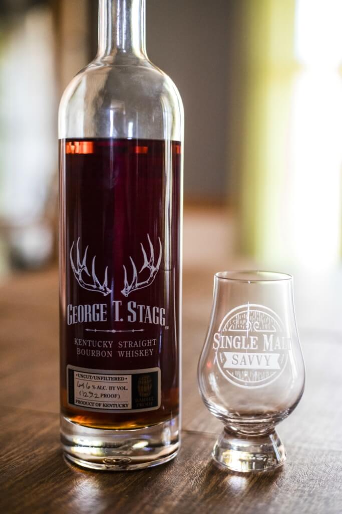George T. Stagg bottle and glass